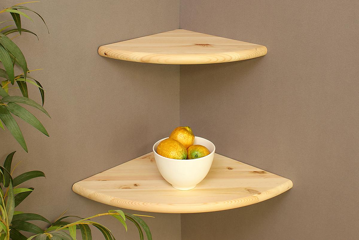 Corner Floating Shelf Raw Pine 300x300x22mm – The Shelving Shop