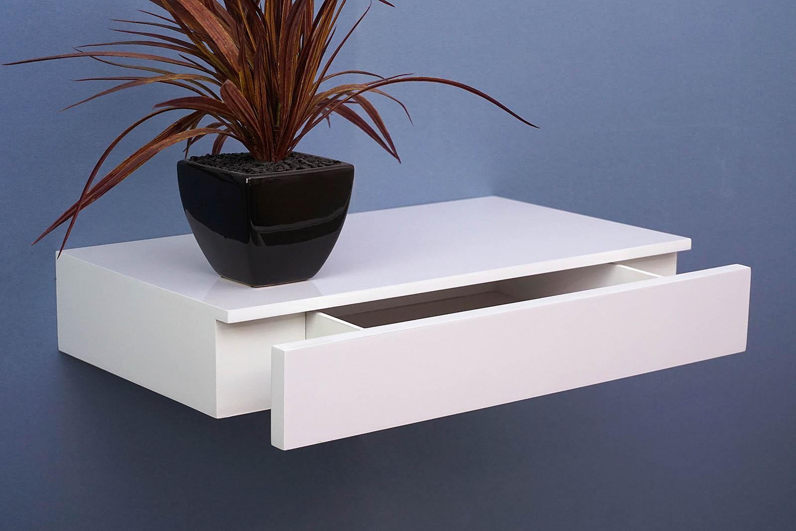 floating shelf with drawer xxmm – the shelving shop - xx gloss white draw shelf