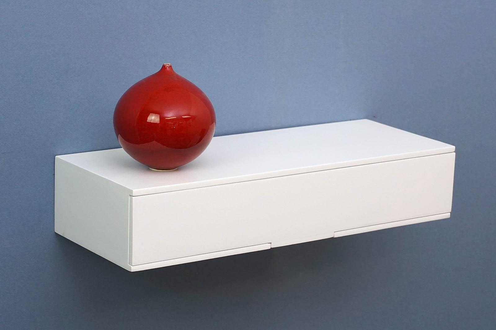 White Floating Shelf Mini Shelf With Drawer 400x150x80mm The Shelving Shop