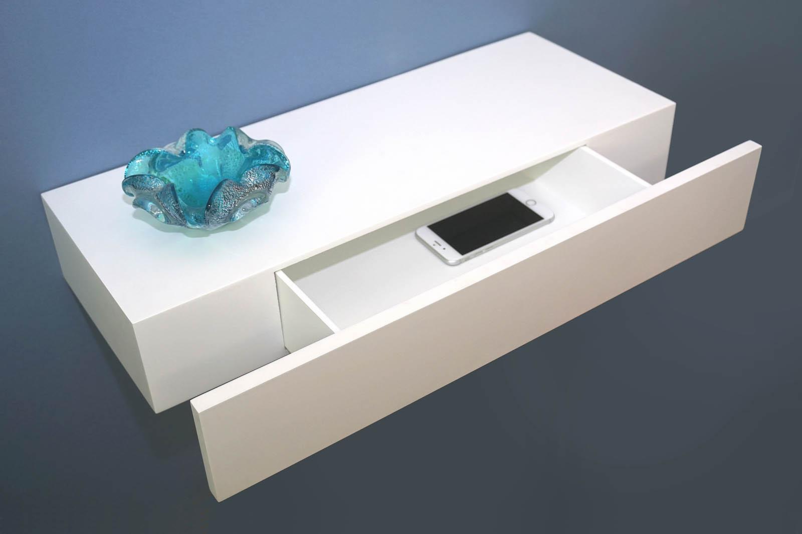 White Floating Shelf Floating Shelf With Drawer 600x250x100mm The Shelving Shop
