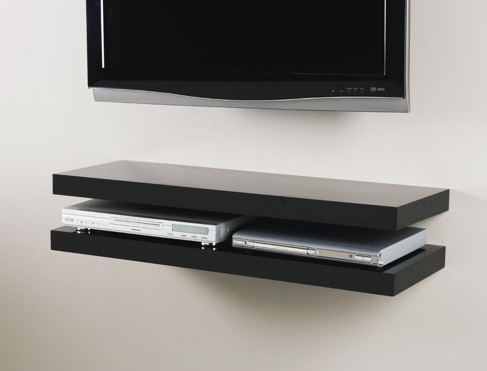 Media shelf 2x Black 90cm situ 2