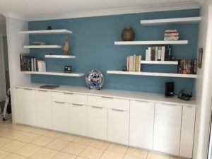 Range Of 50mm Thick High Gloss White Floating Shelves Installed, View Here.