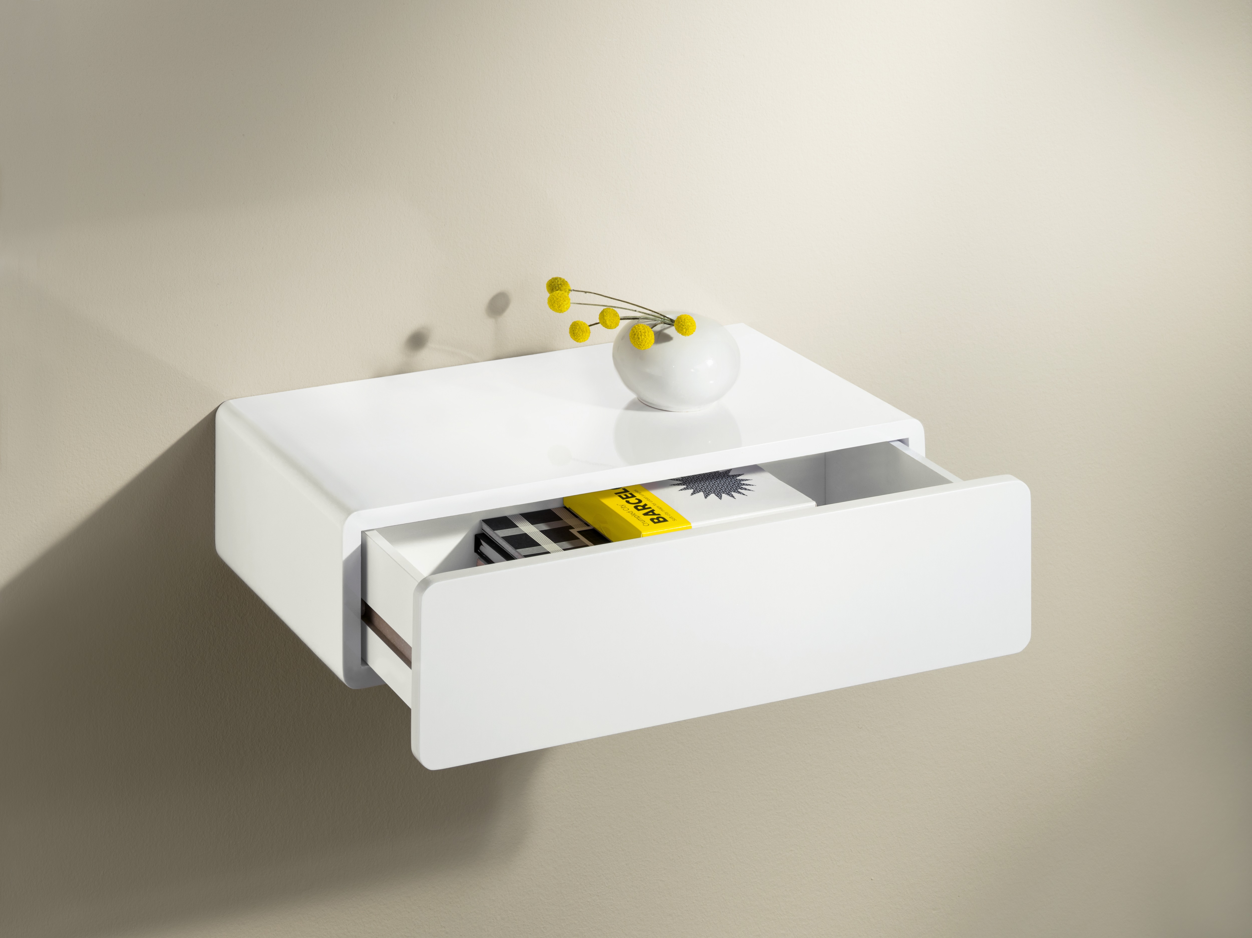 floating open shop drawer lacquered the with shelving shelves white shelf dressed