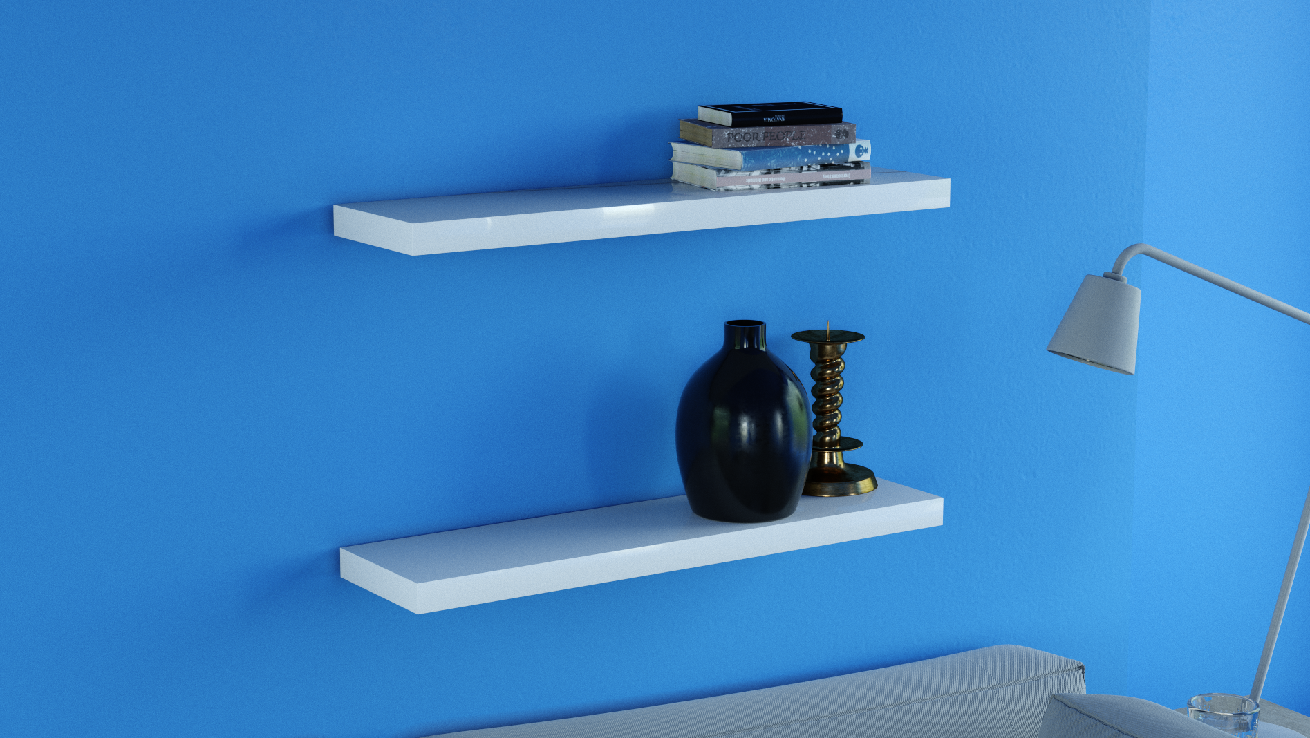 Awe Inspiring Gloss White Floating Shelves Double Deal 800X200X38Mm Interior Design Ideas Gentotryabchikinfo