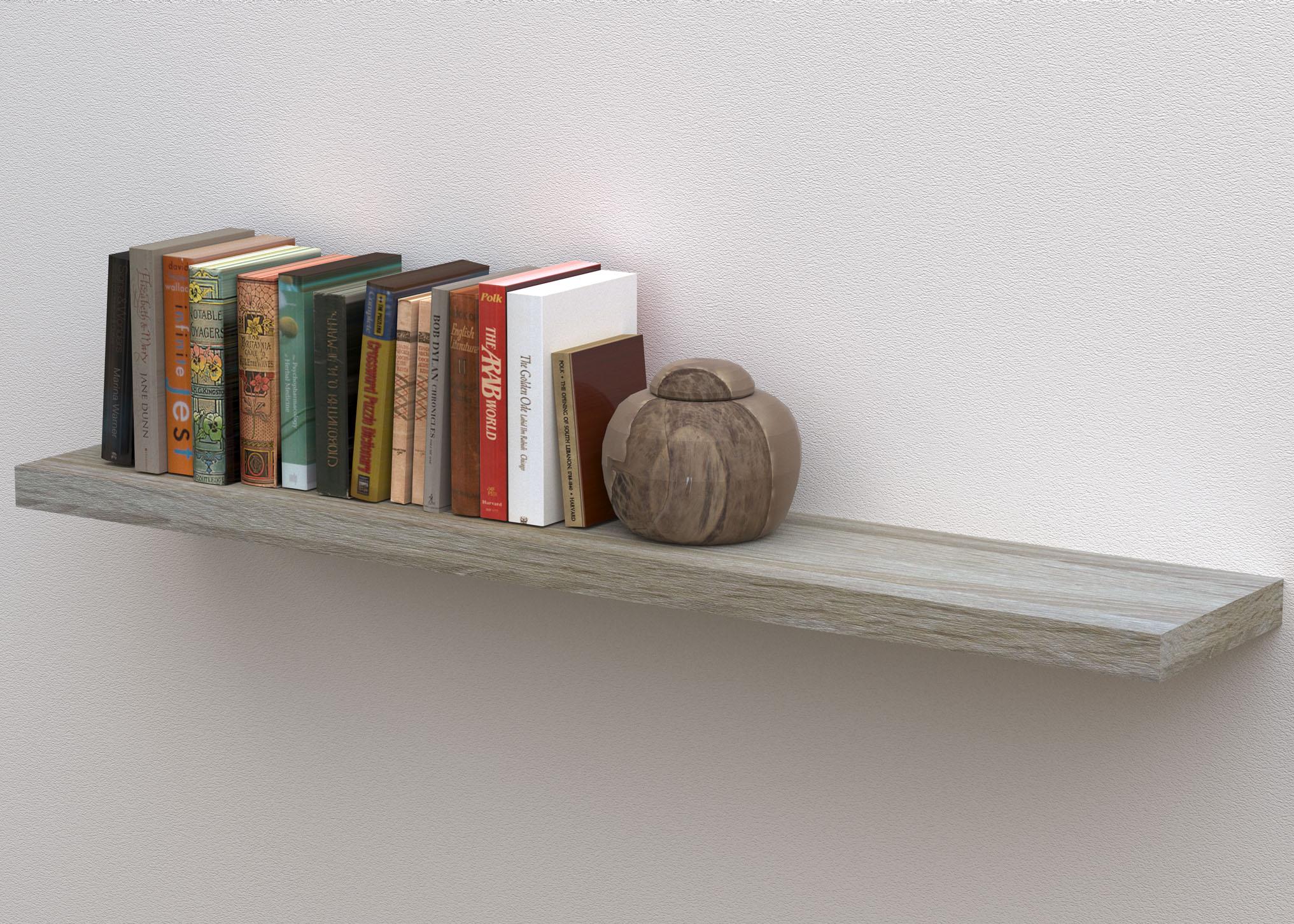 floating shelf 1200x240x38mm white oak
