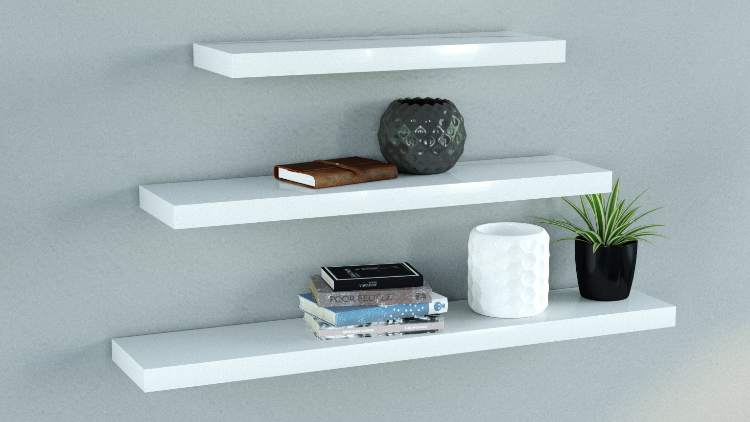 Miraculous Gloss White Floating Shelves Triple Deal Mix Interior Design Ideas Gentotryabchikinfo
