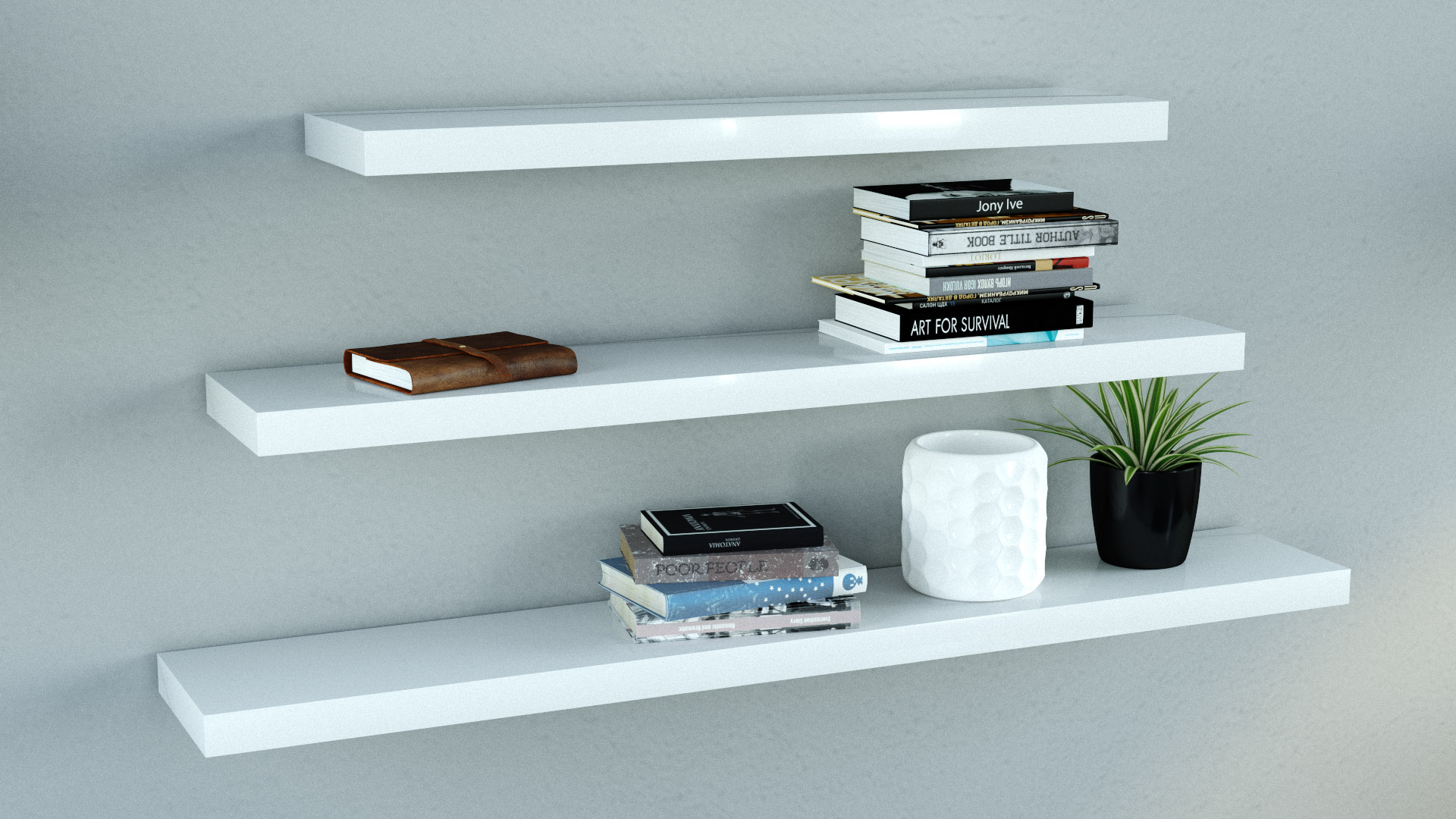 pick up 63a84 b0038 Gloss white floating Shelves triple deal mix