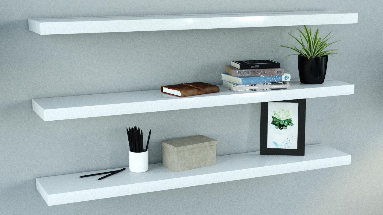 gloss white floating shelves triple deal 1200x200x38mm