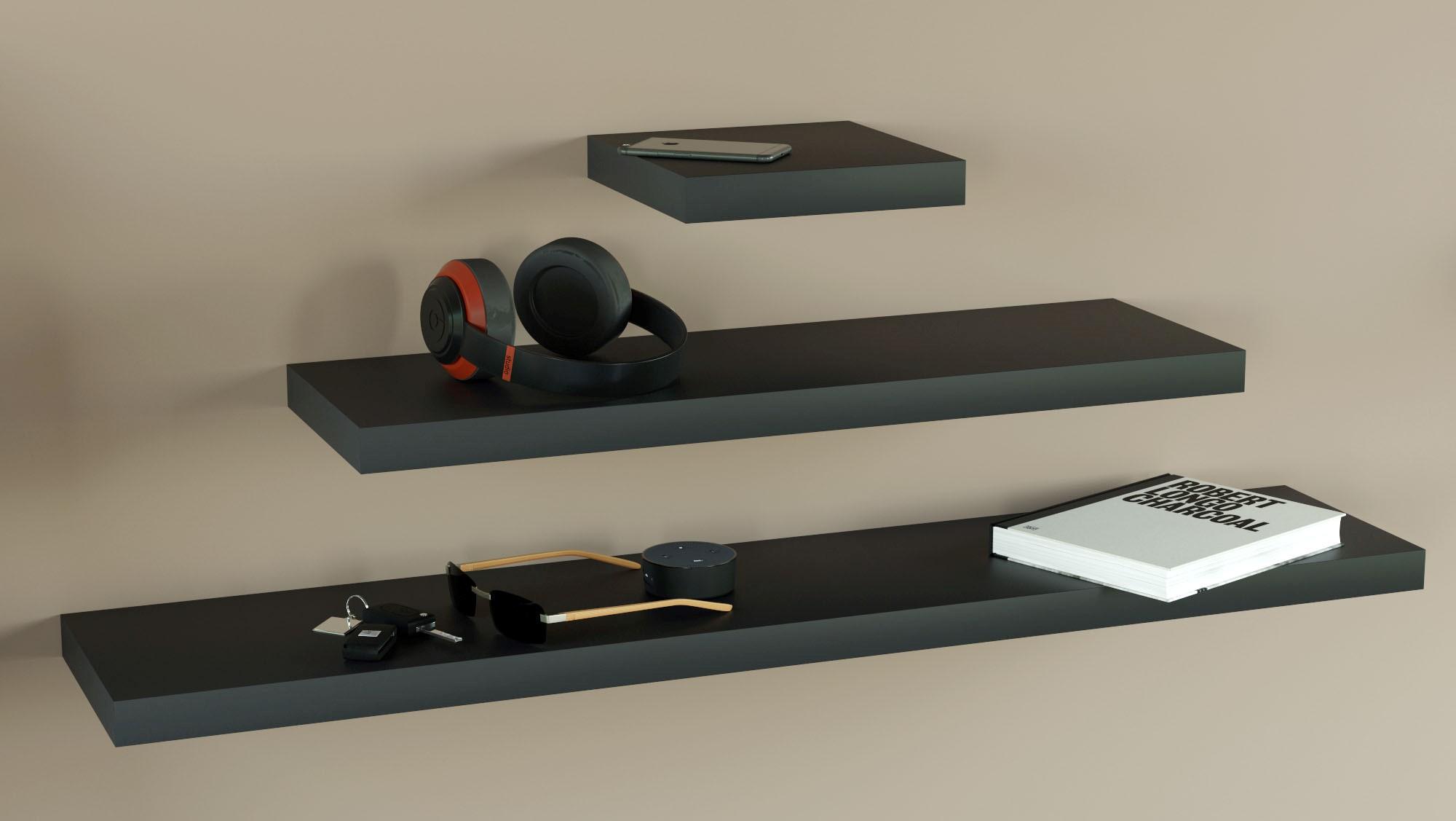 Black floating shelves 250 800 1200 lengths triple deal