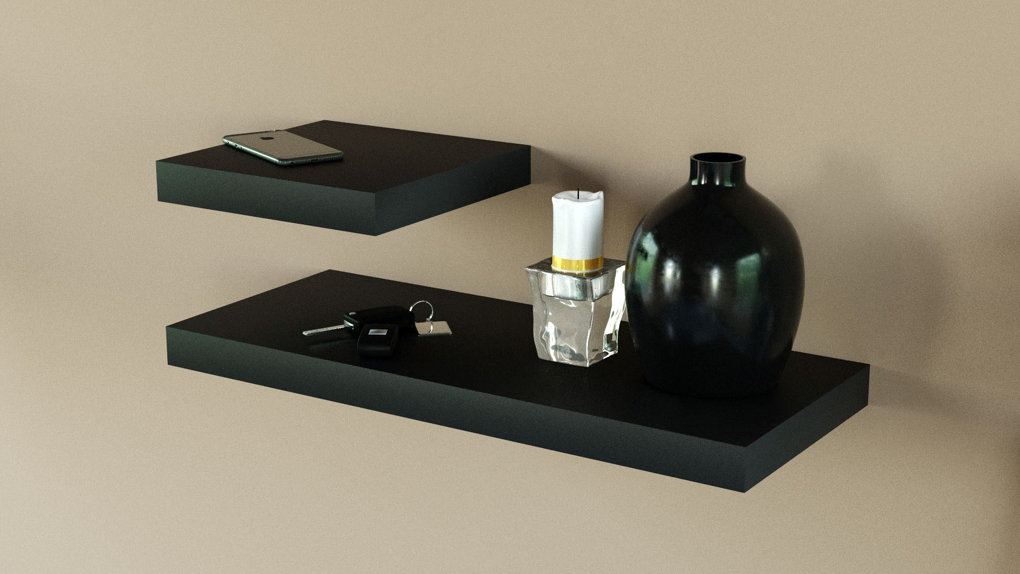 Black floating shelves 600 and 250 x 250 double deal 2