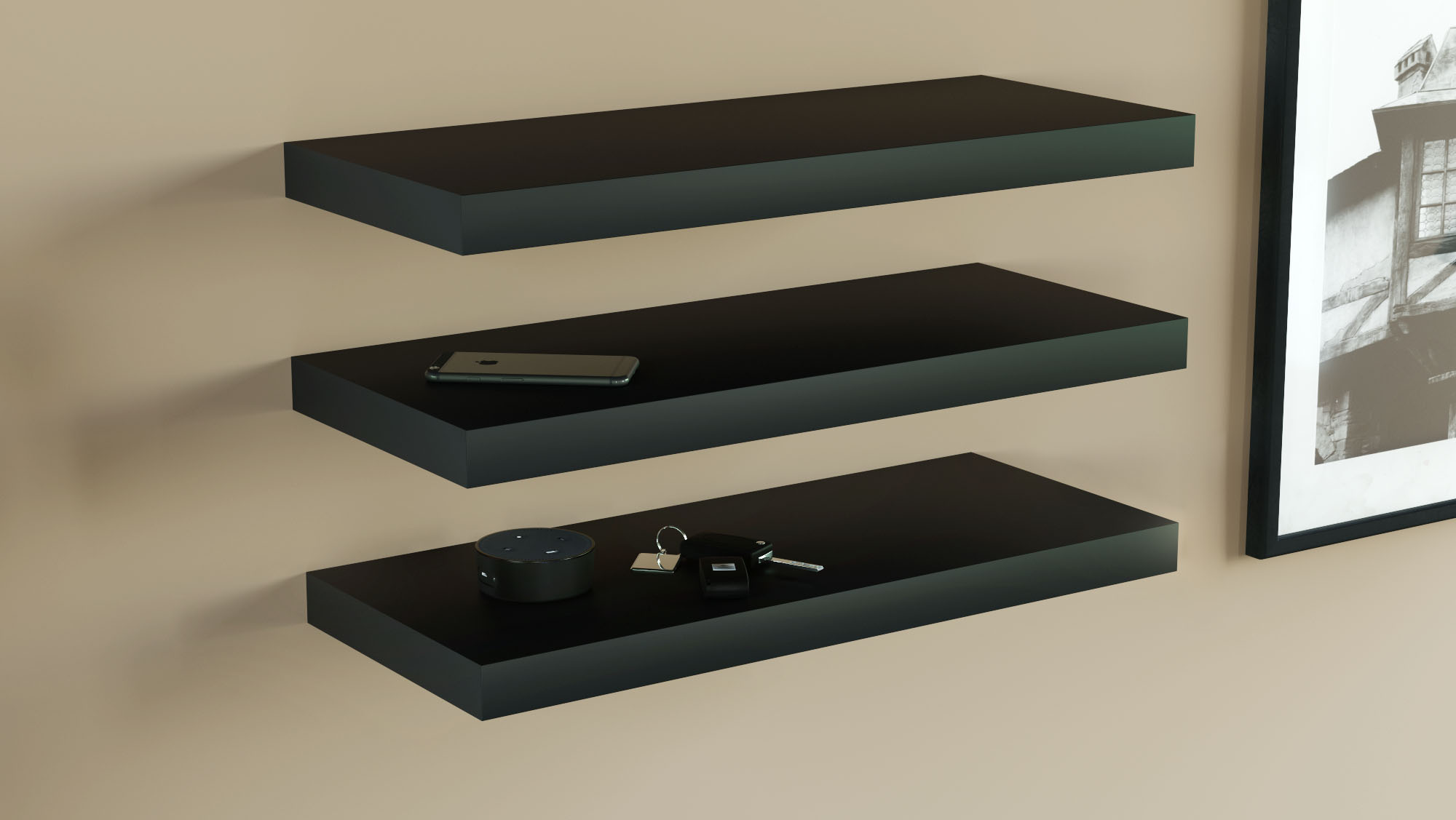 floating shelves black 600x250x38mm triple deal
